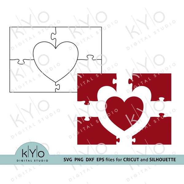 Heart in Rectangle Jigsaw Puzzle Template svg ai eps dxf files 5 pieces-kYoDigitalStudio
