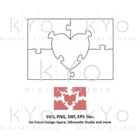 Heart in rectangle Jigsaw Puzzle Template svg ai eps dxf files by kYoDigitalStudio