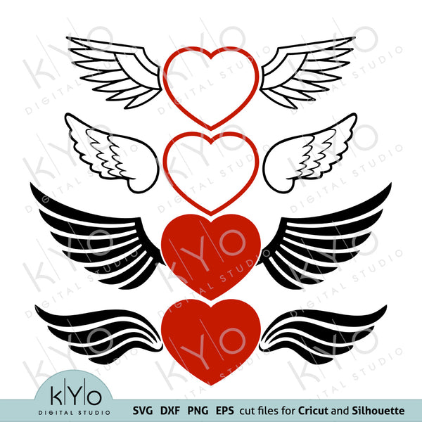 Love Heart with Wings Valentines Day Svg Png Dxf files