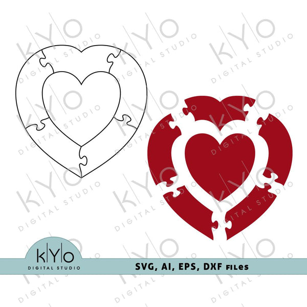 Heart in Heart Puzzle cutting template by kYoDigitalStudio