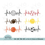 Sports svg, Heartbeat svg, Basketball Football Soccer Baseball Volleyball Tennis svg files for Cricut and Silhouette design
