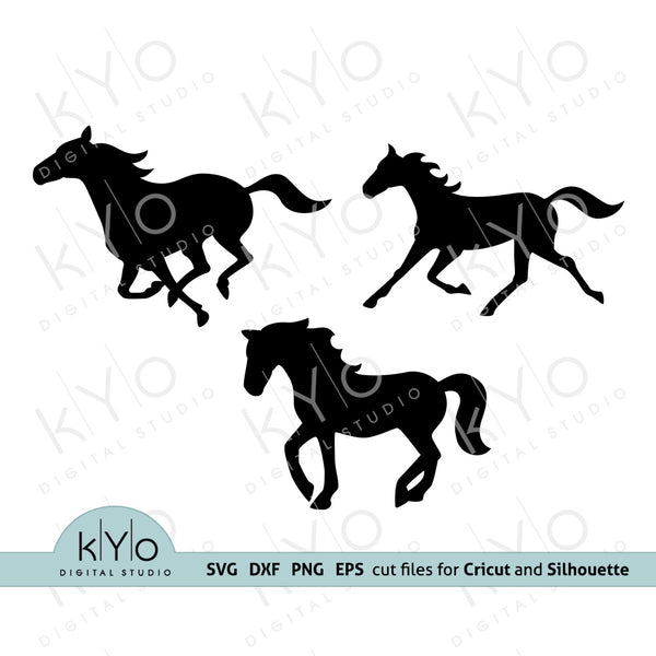 Horse Silhouettes svg, Running horse svg, Mustang svg, Equestrian svg, svg files for Cricut and Silhouette dxf files - kyodigitalstudio