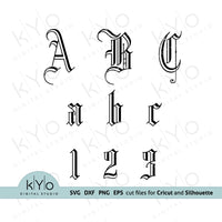 Monogram Font Alphabet Svg Cut Files for Cricut and Silhouette crafts V1