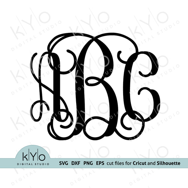 Interlocking Monogram Font Letters SVG files for Cricut and Silhouette Crafts