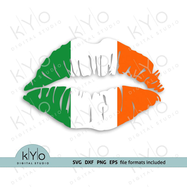 Ireland (Irish) flag girl lips shirt design svg png dxf files-kYoDigitalStudio