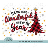 Its The Most Wonderful Time of the Year SVG, Christmas Quote svg, Plaid tree SVG, Christmas shirt svg cut files for Cricut and Silhouette - kyodigitlastudio.com