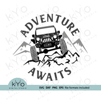 Jeep svg, Adventure Awaits svg, jeep adventures svg - kYoDigitalStudio