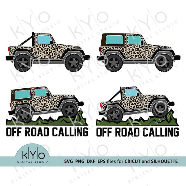 Cheetah Leoperd Print Jeep Side View Silhouette shirt design, Off Road 4x4 Safari bundle svg png dxf eps files kYoDigitalStudio