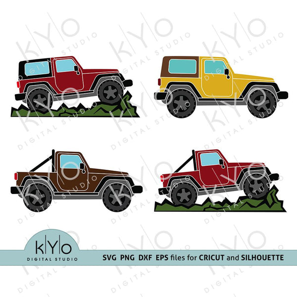 Off Road 4x4 Jeep Silhouette shirt design bundle svg png dxf eps-kYoDigitalStudio