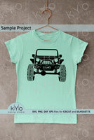 Jeep Svg cutting files for DIY Shirt printing, Lifted Jeep Svg files, Jeep with winch Off road 4x4 svg png dxf eps files, Monster truck svg, Jeep shirt svg files for Cricut and Silhouette crafts