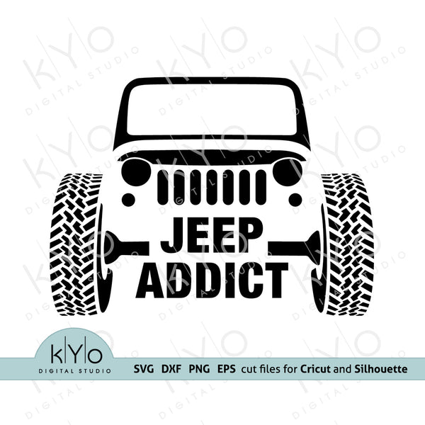 Jeep Addiction svg, American jeep front silhouette svg, Jeep Wrangler shirt design, Jeep Grill svg files for Cricut and Silhouette.
