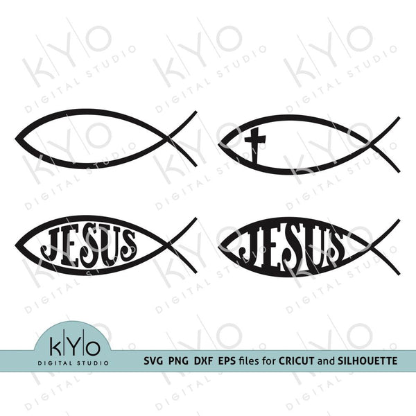 Jesus Symbol SVG, Church svg, Jesus Christ svg, Baptism svg, Fish sign svg, Christian Fish Symbol svg, Religious svg file for Cricut and Silhouette dxf files - kYoDigitalStudio