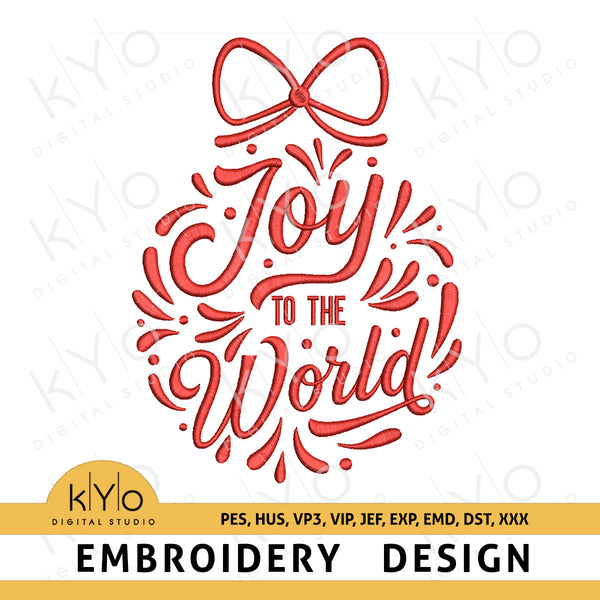 Joy To The World Christmas Embroidery Design pes hus vp3 vip jef exp emd dst, Lettered Bauble Machine Embroidery Design files