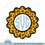 Leopard Pattern Scalloped Monogram Svg Png Dxf Eps files