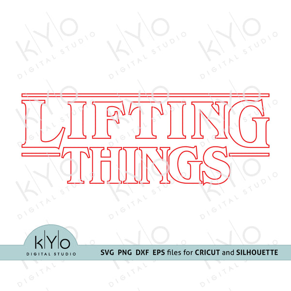 Lifting Things svg, Gym svg, Stranger Things inspired Outline shirt design svg png dxf eps files for Cricut and Silhouette DIY crafts @kyodigitalstudio.com