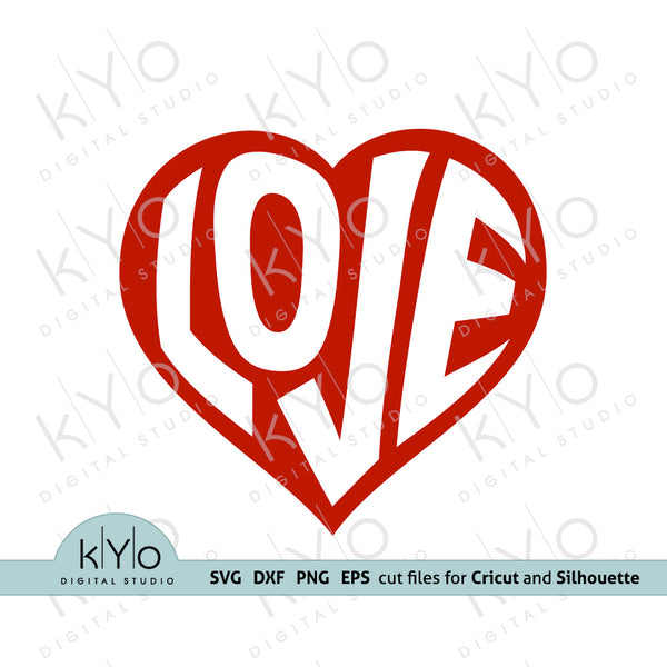 Warped Love Letters in Heart Shape Valentines Day Svg