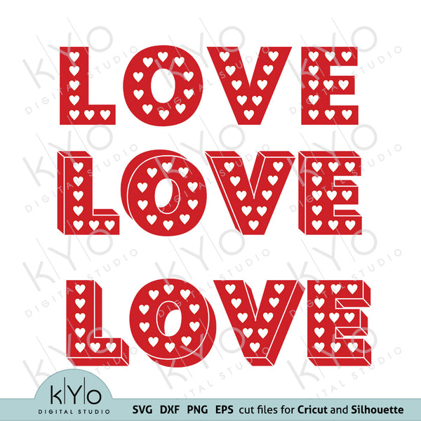 Love letters with Heart pattern svg files for Cricut and Silhouette Cameo files