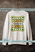 Lucky Irish St Patricks day Shirt Design Svg Cutting files, Sublimation Png images and Dxf cut files for Cricut and Silhouette DIY craft projects, Lucky Irish Svg.