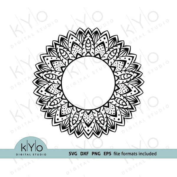 Mandala Circle Monogram frame svg png dxf eps cut files for Cricut and Silhouette-kYoDigitalStudio