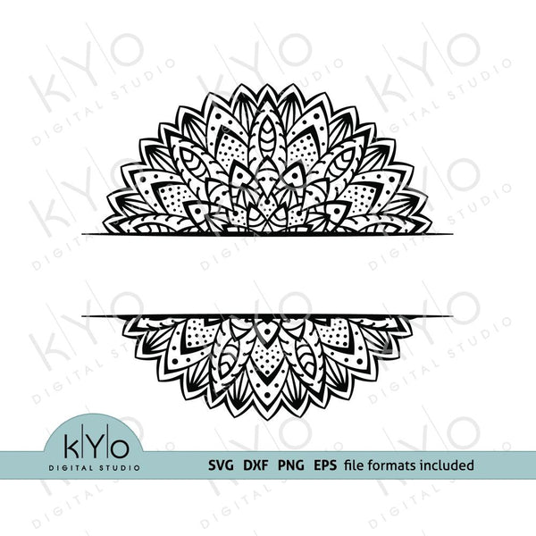 Mandala Split Monogram frame svg png dxf eps cut files for Cricut and Silhouette-kYoDigitalStudio