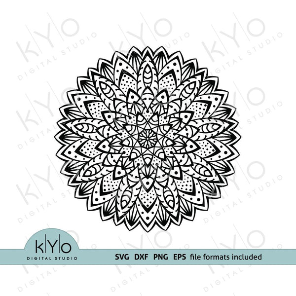 Mandala svg png dxf eps cut files for Cricut and Silhouette-kYoDigitalStudio