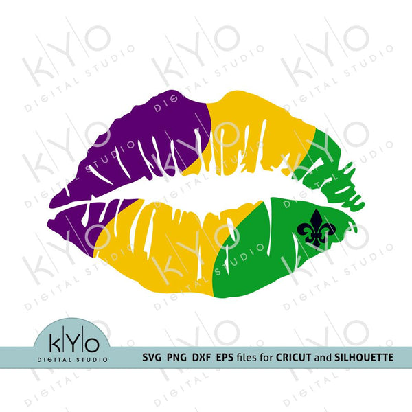 Mardi Gras girl lips shirt design svg png dxf files-kYoDigitalStudio