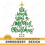 We Wish You A Merry Christmas Tree Embroidery design