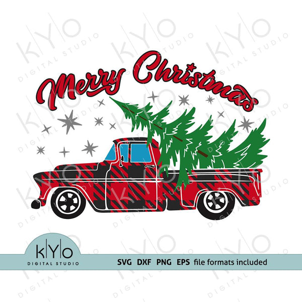 Merry Christmas Plaid truck shirt design svg-kYoDigitalStudio