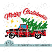 Merry Christmas Plaid Truck svg png dxf files-kYoDigitalStudio