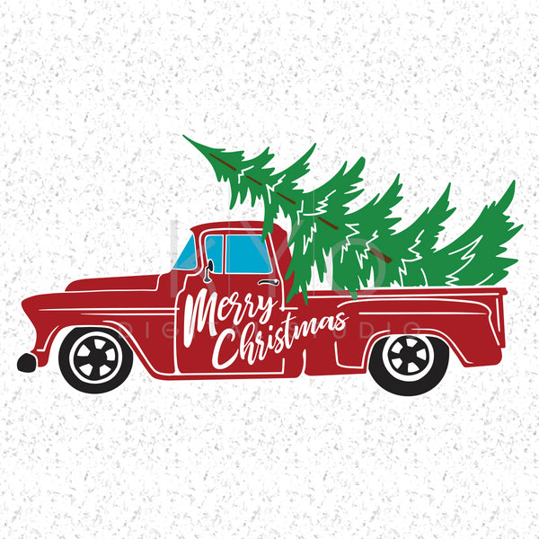 Christmas Truck Svg Dxf Png Eps cutting files, Merry Christmas Svg, Red Old Christmas tree truck, Christmas tree farm Svg