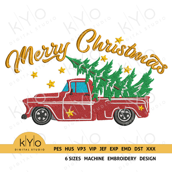 Merry Christmas Red Old Vintage Truck embroidery design