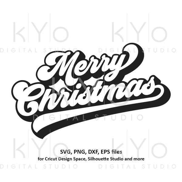 Merry Christmas Banner svg, Brush lettering, Retro Christmas party svg, Merry Christmas svg files for Cricut and Silhouette dxf files