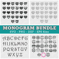 Heart Hexagon Outline Monogram Fonts for Cricut Silhouette Sizzix Brother Glowforge