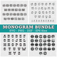 Interlocking Circle Split Monogram Font Bundle Svg for Cricut Silhouette Sizzix Brother Glowforge