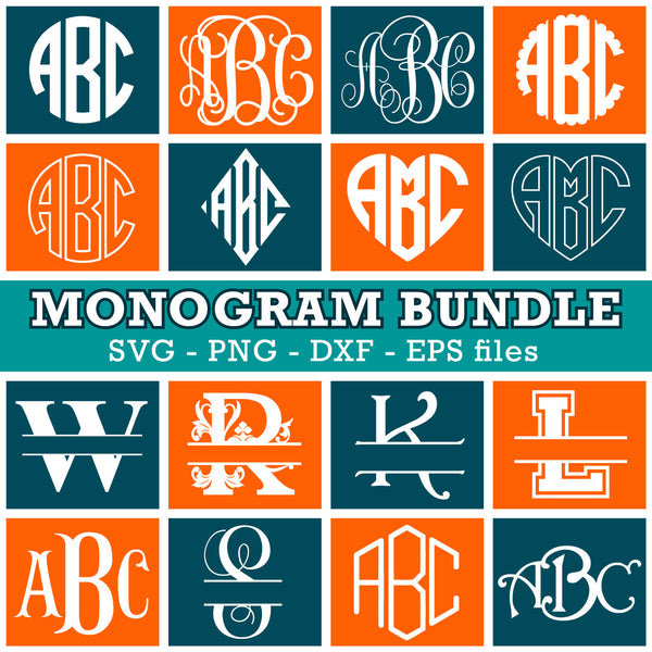 Cricut Fonts Bundle Svg, Monogram Fonts For Cricut, Svg Monogram Letters, Split Monogram Bundle Svg, Svgs for Cricut and Silhouette monogramming crafts.