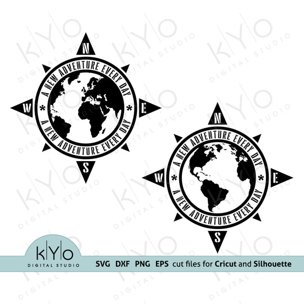 New Adventure Every Day Distressed Compass Car Decal Sticker t-shirt jumper printing design Svg Png Dxf Eps Cut files