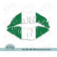 Nigeria Flag Lips SVG PNG DXF EPS Files, Nigerian Flag Lips Svg files - kYoDigitalStudio.com