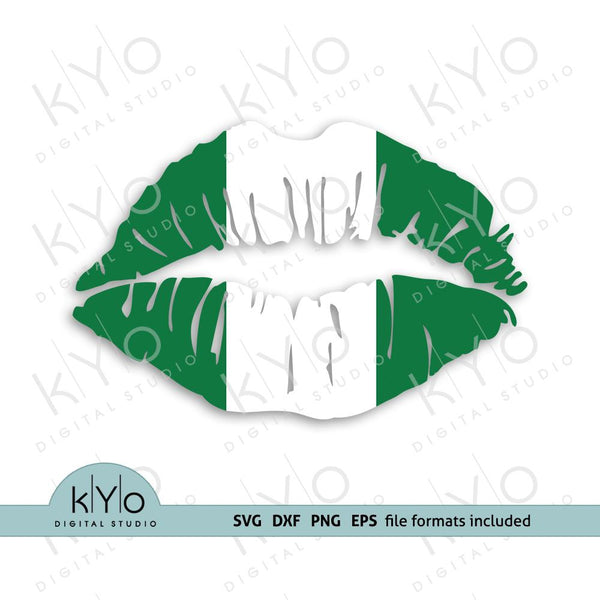 Nigerian flag girl lips shirt design svg png dxf files-kYoDigitalStudio