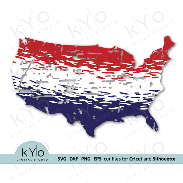 Ombre America Map svg sublimation png by kyodigitalstudio.com