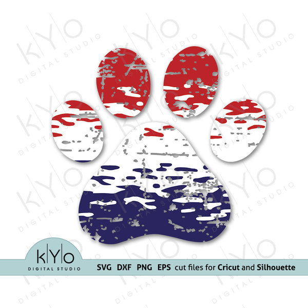 Ombre Dog Paw svg png dxf eps files by kyodigitalstudio.com