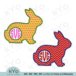 Chevron and Polka Dot Patterned Easter Bunny Monogram Svg Png Dxf files