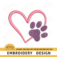 Dog Paw Heart Embroidery Design pes hus vp3 vip jef exp emd dst Machine embroidery files, Vet embroidery design, Dog love embroidery