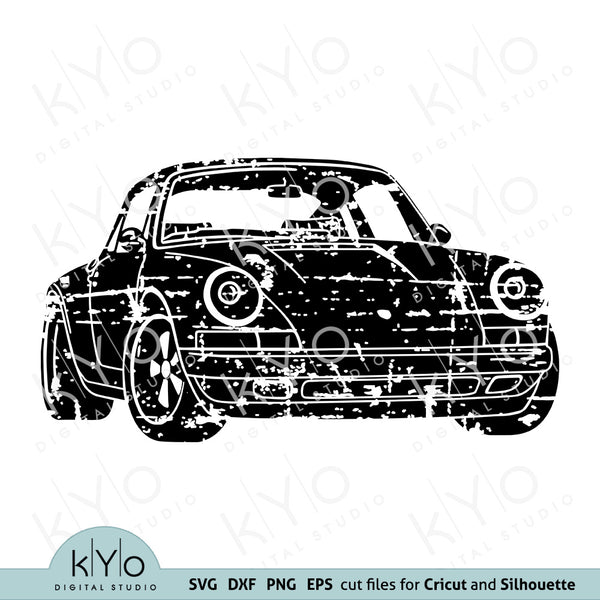 Distressed Porsche 911 silhouette svg png dxf cut tin printing design files by kyodigitalstudio.com