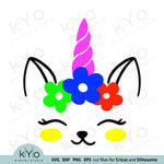 Cat Face Unicorn with Flowers Preschool shirt Svg Dxf Png Eps Cutting Files kyo digital studio free svg images