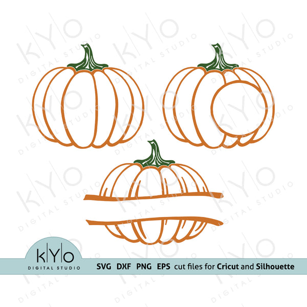Pumpkin Outline svg, Pumpkin Monogram svg, Pumpkin svg, Split Pumpkin svg, Fall Autumn Harvest Halloween svg files for Cricut, Silhouette dxf files, htv design - @kyodigitalstudio