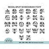 Regal Split Monogram Font letters in svg png dxf eps format, cutting images, monogram svg cut files