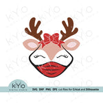 Reindeer Face with Bow svg, Quarantine Reindeer svg, Christmas Reindeer svg, Reindeer Girl svg, Reindeer Face svg files for Cricut snd Silhouette, Christmas dxf files