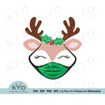 Quarantine Reindeer svg, Reindeer Face with Holly svg, Christmas Reindeer svg, Reindeer Girl svg, Reindeer Face svg files for Cricut snd Silhouette, Christmas dxf files