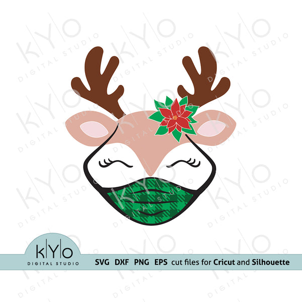 Quarantine Reindeer svg, Reindeer Face with Poinsettia svg, Christmas Reindeer svg, Reindeer Girl svg, Reindeer Face svg files for Cricut snd Silhouette, Christmas dxf files, Plaid Mask Svg
