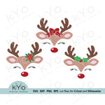 Reindeer face svg, Christmas reindeer svg, Eyelashes svg, Cute reindeer svg, Bow svg, Holly svg files for Cricut Silhouette Christmas dxf files